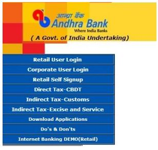 Andhra Bank Online Login home
