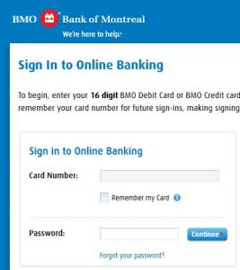 Bank of Montreal Online Banking login and reset