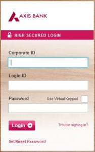 Axis Bank Corporate Login