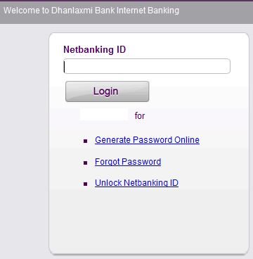 Dhanlaxmi Bank online banking login and reset