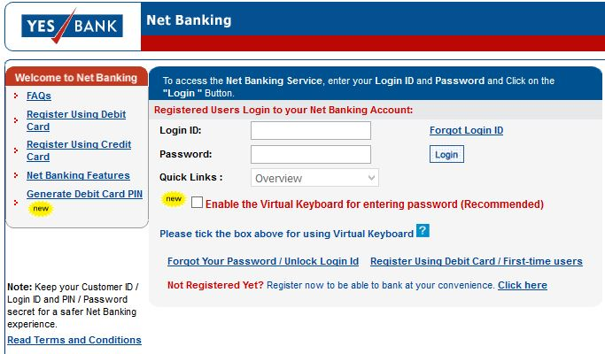 Yes bank online banking login