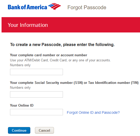 Bank of America password reset