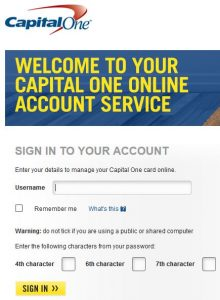 Capital One Bank UK login