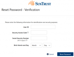 Solve SunTrust Bank login Issues