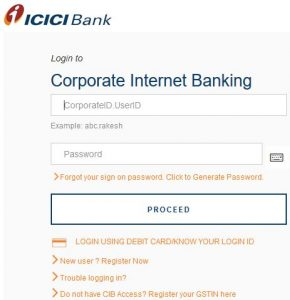 ICICI Corporate Login