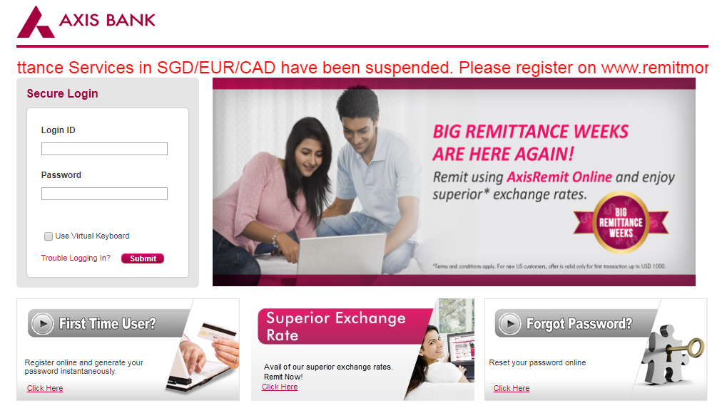 Axis Bank Login panel
