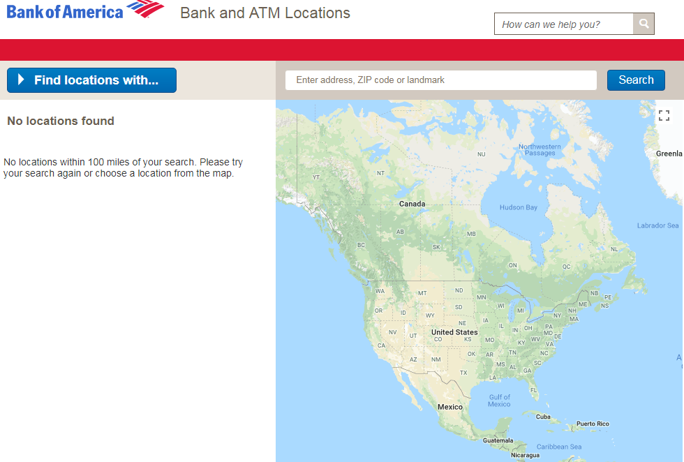 Find Bank Of America ATM