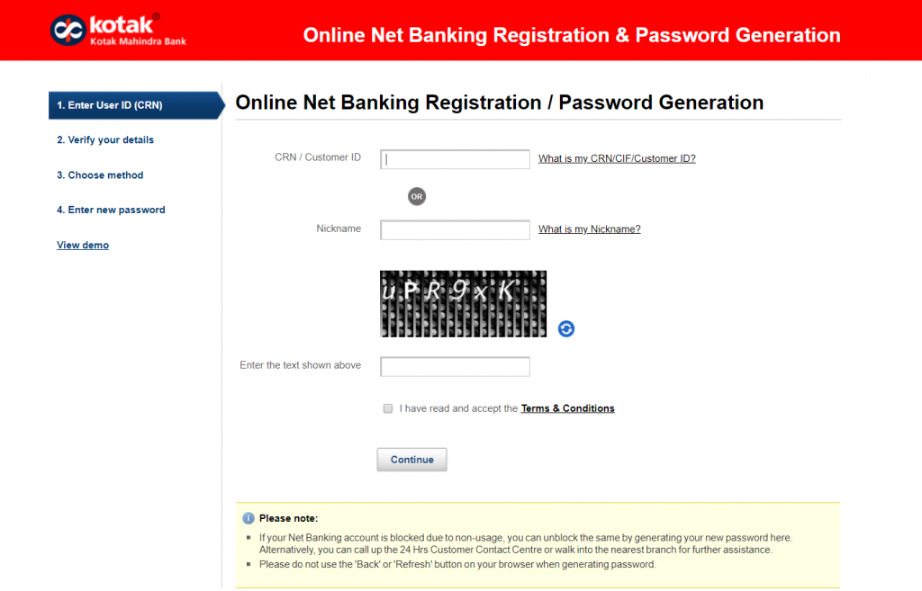 Kotak Mahindra Bank Reset Password