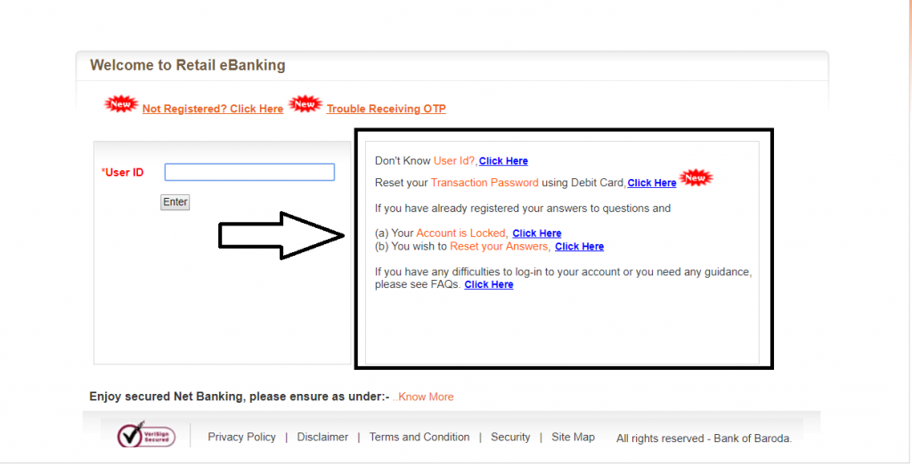 Reset Bank of Baroda Password